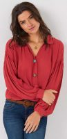 Egyszínű női ingblúz széles ujjakkal