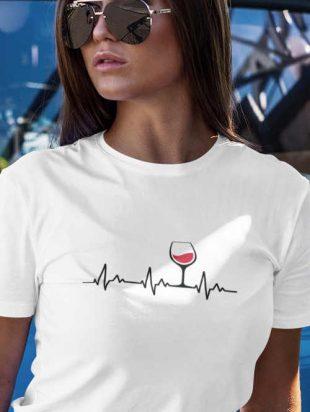 Kellemes anyagból készült női póló vicces motívummal