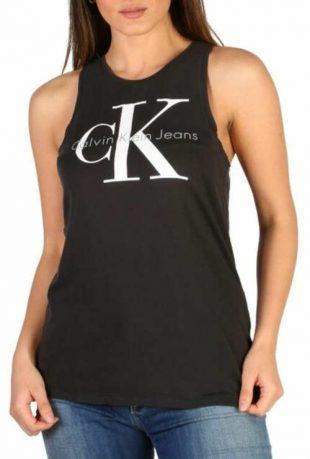 Nyári fekete tank top fehér Calvin Klein felirattal