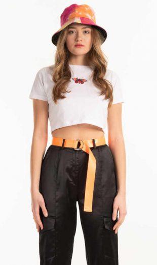 Szexi rövid póló nyomtatással, kiváló minőségű organikus pamutból készült