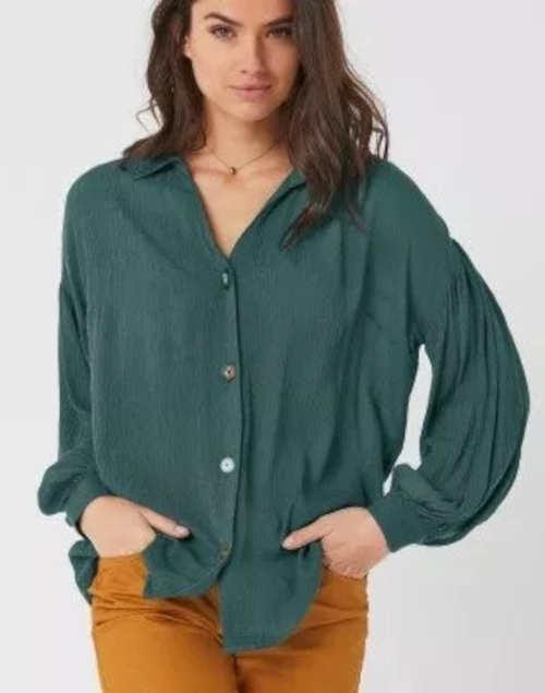 Zöld női ing laza szabású