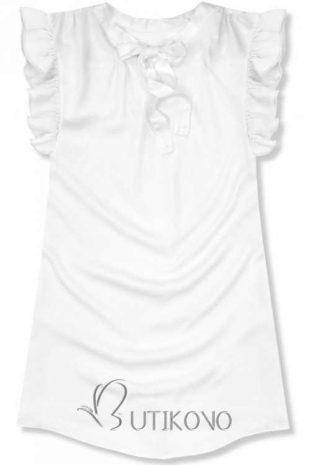 Egyszínű fehér könnyű blúz masnival