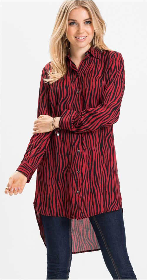 Aszimmetrikus piros női ing