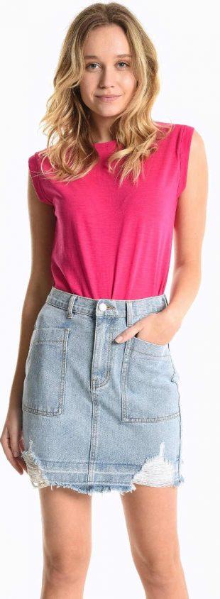Egyszínű rózsaszín ujjatlan nyári póló nőknek