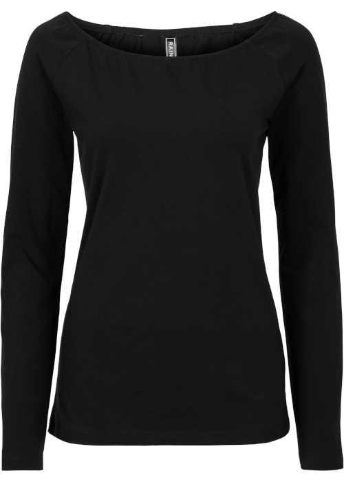 Fekete modern póló hosszú ujjakkal és szexi dekoltázzsal