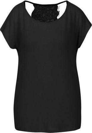 Fekete női póló csipkés hátlappal