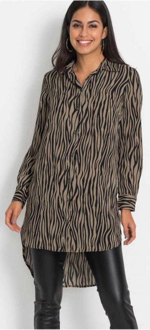 Hosszú ing blúz zebramintával