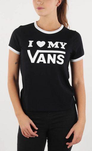 Fekete-fehér női póló I love my Vans