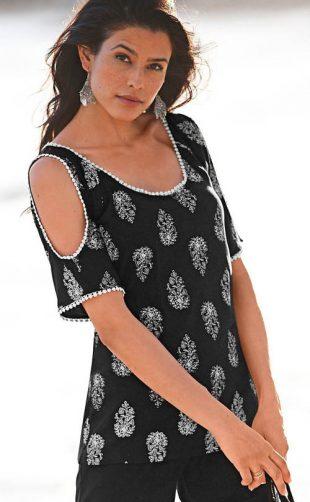 Női bővített póló hátul hasítékkal
