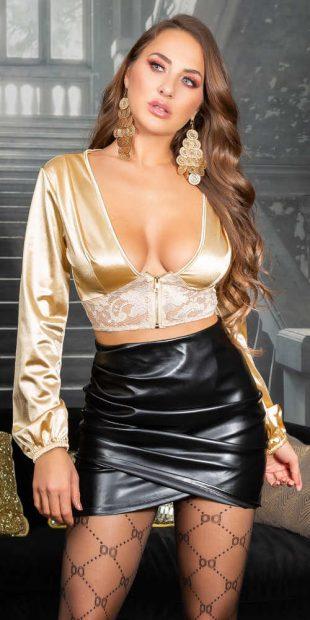 Szexi női blúz arany csipkével